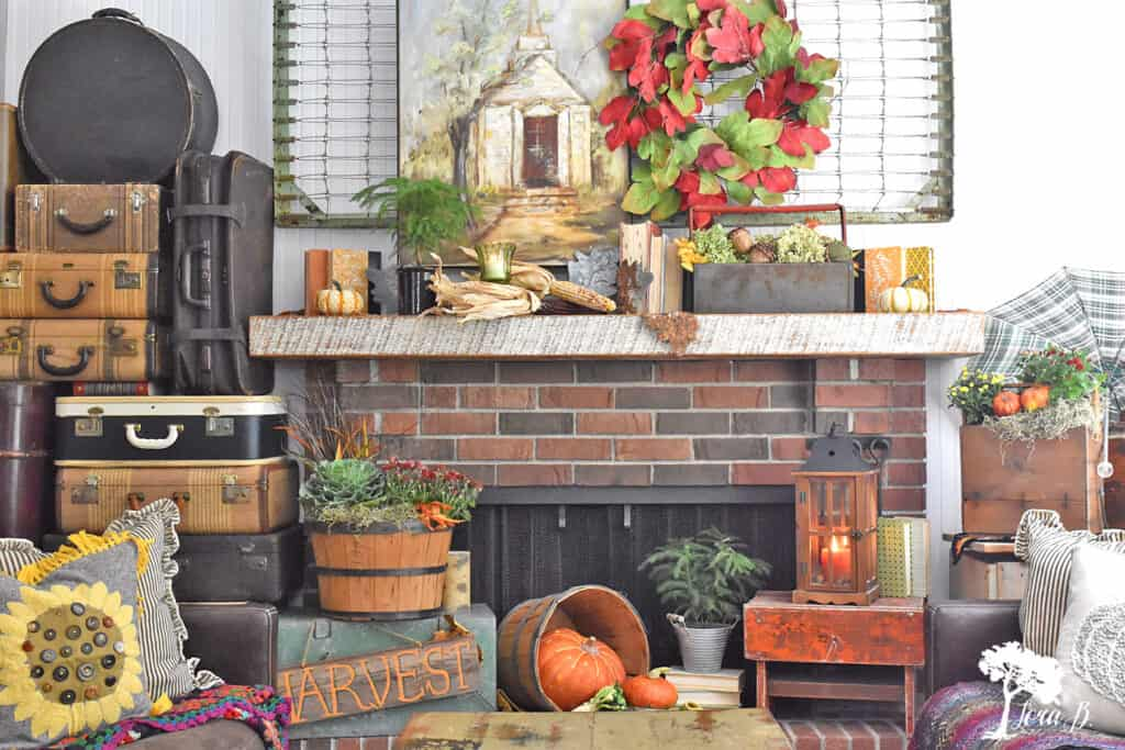 Rustic and Nostalgic elements combine for a decorated Fall Mantel displlay.