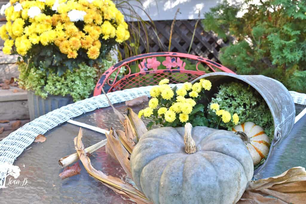 Pumpkins and mums make a centerpiece on this Fall decorated porch and patio tour.