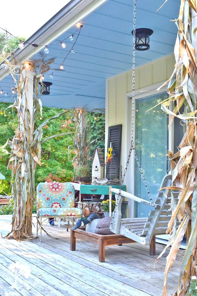 Fall decorated porch and patio with salvaged style.
