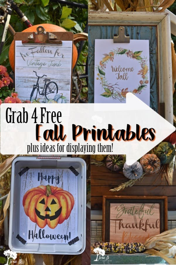 Get 4 Free Fall printables to decorate your home, plus ideas to creatively display them with vintage, junky style. #printables #Falldecorideas #autumndecorideas #DIYfalldecor #DIYfall #freeprintables #seasonalprintables #stylingtips