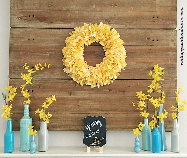 Blue and yellow mantle decor