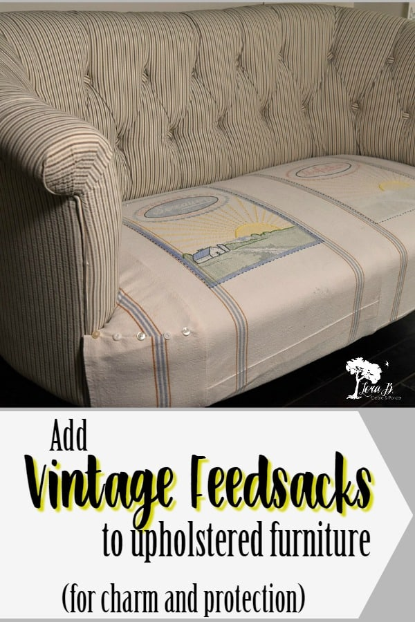 Adding Vintage Feedsacks to New Furniture