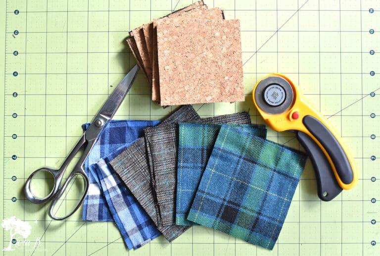 DIY Plaid Flannel Coasters