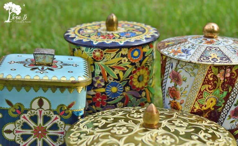 Vintage Floral Tins and a Butterfly Printable