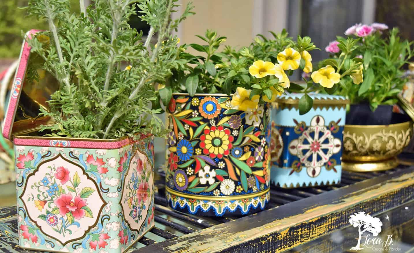 Vintage floral tins
