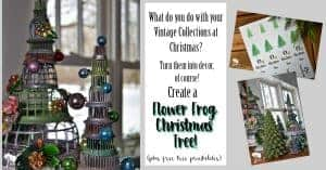 Repurpose vintage flower frogs as a Christmas tree. Stacked together with vintage Shiny Brite ornaments, they become a fun arrangement.