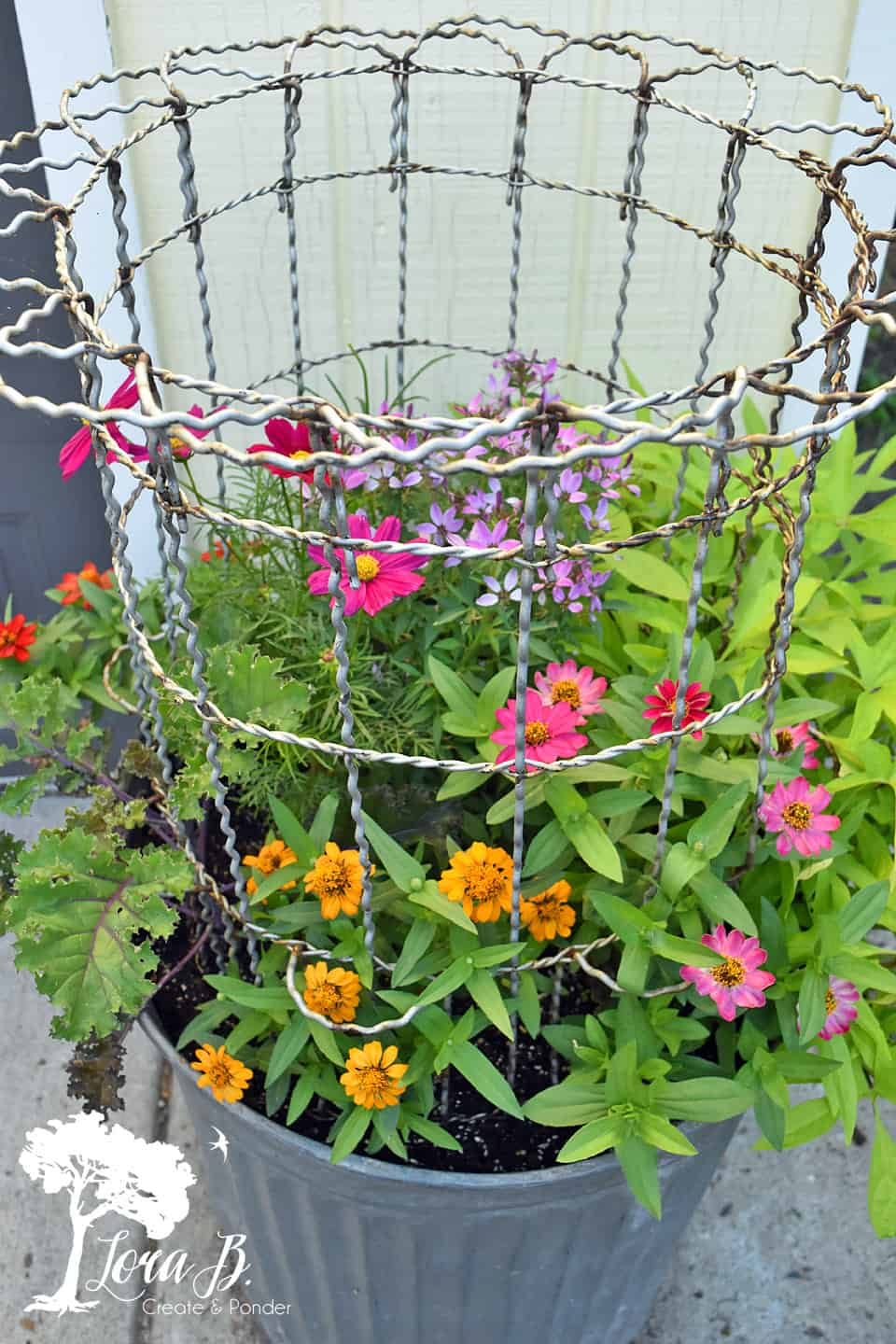 Repurposed Garbage Can Planter