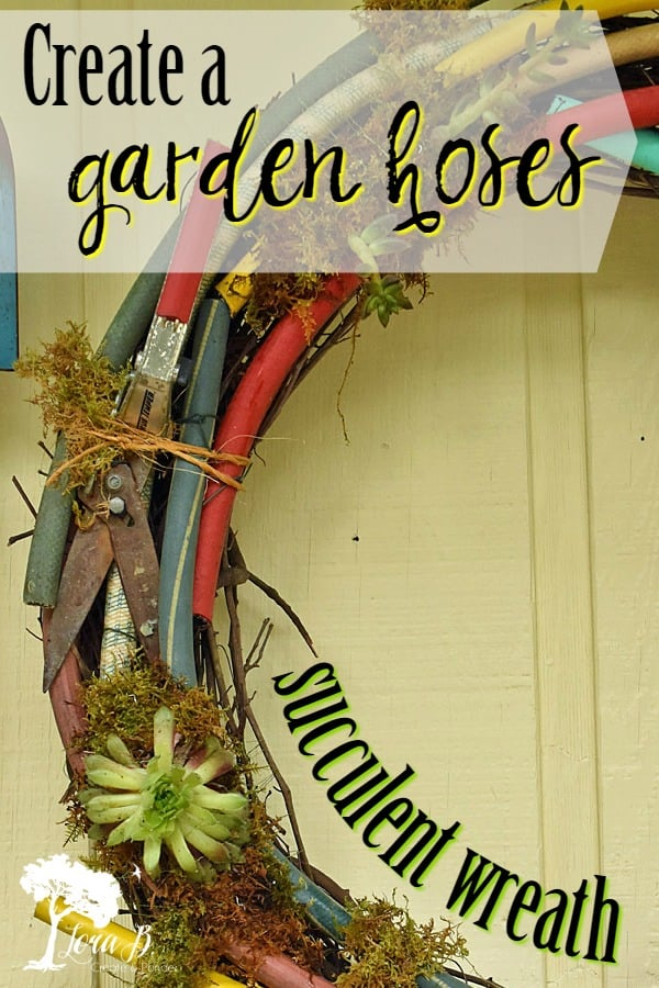 Create a unique DIY wreath from a variety of old garden hoses. Add everlasting or real succulents for a one-of-a kind masterpiece. Simple How-To instructions. #repurposing #upcycled #gardenhoseprojects #junkrepurposed #junkprojects