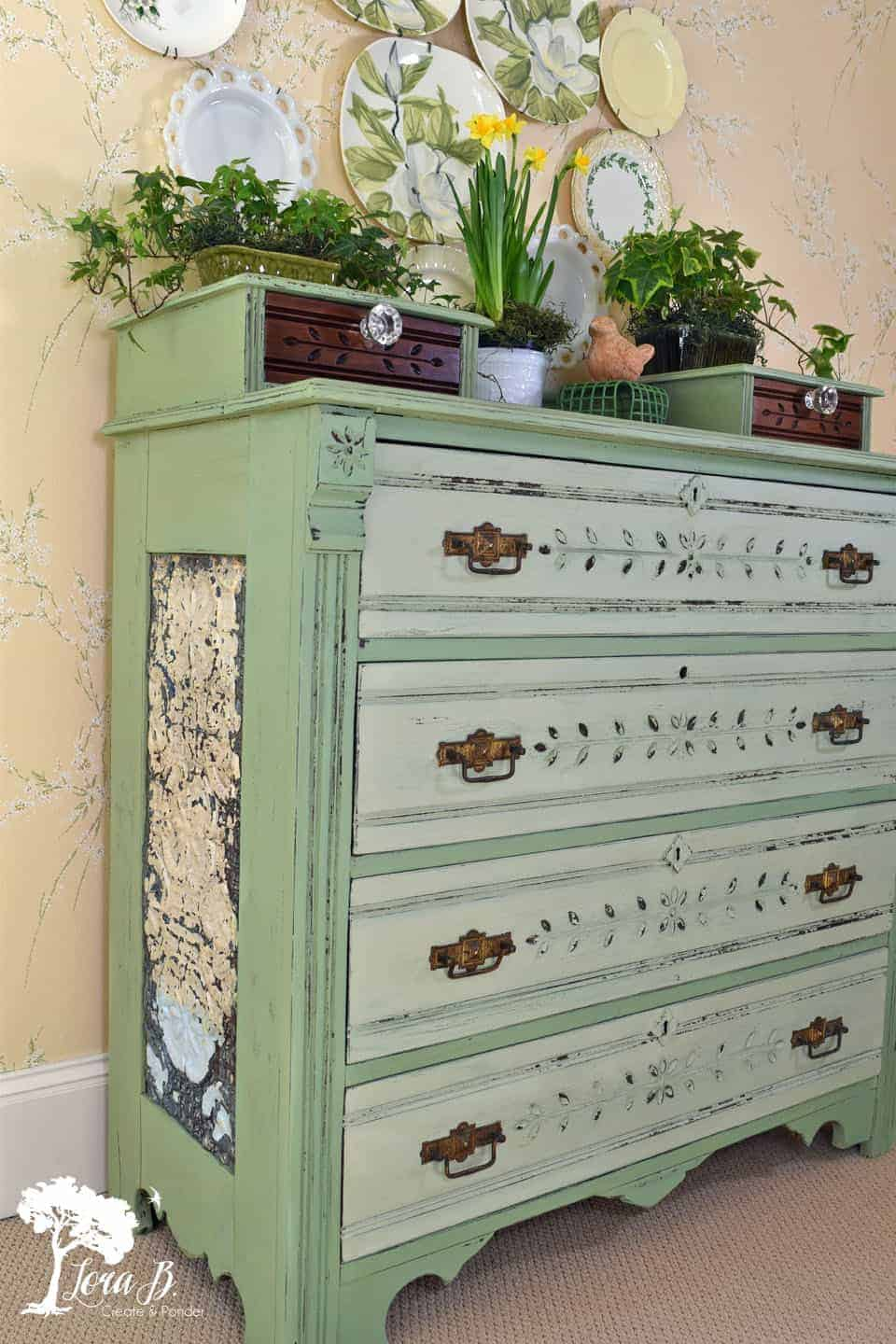 Dresser Makeover in Vintage Green