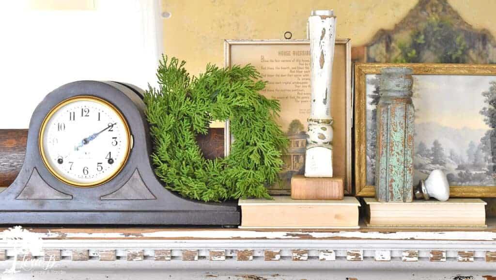 vintage clock shelf decor