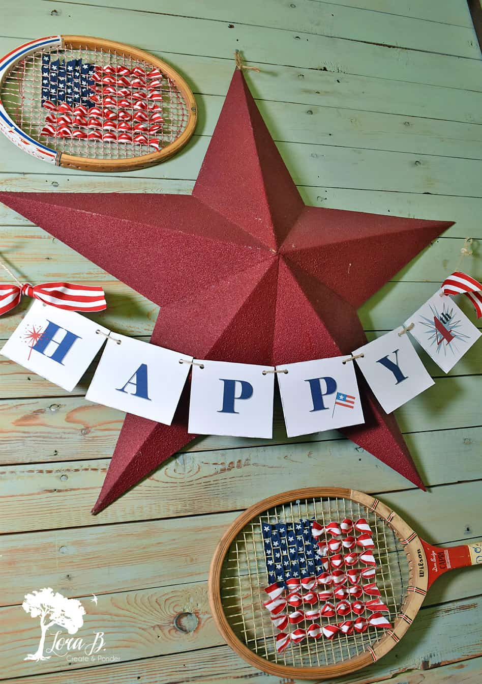 Tennis Racket Upcycle 4th of July decor