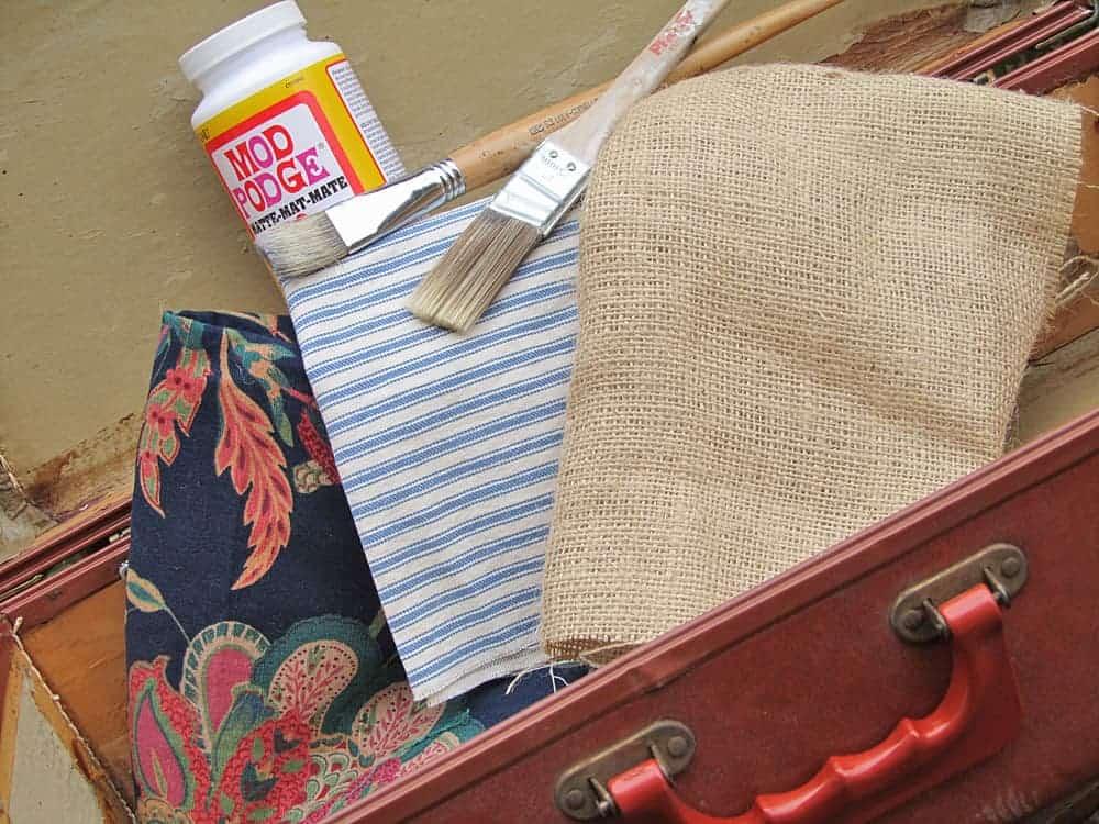 decoupage vintage suitcases inside