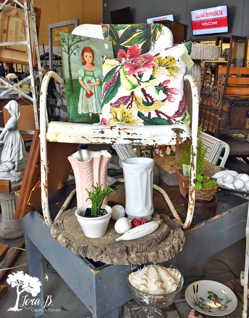 vintage lawn chair display