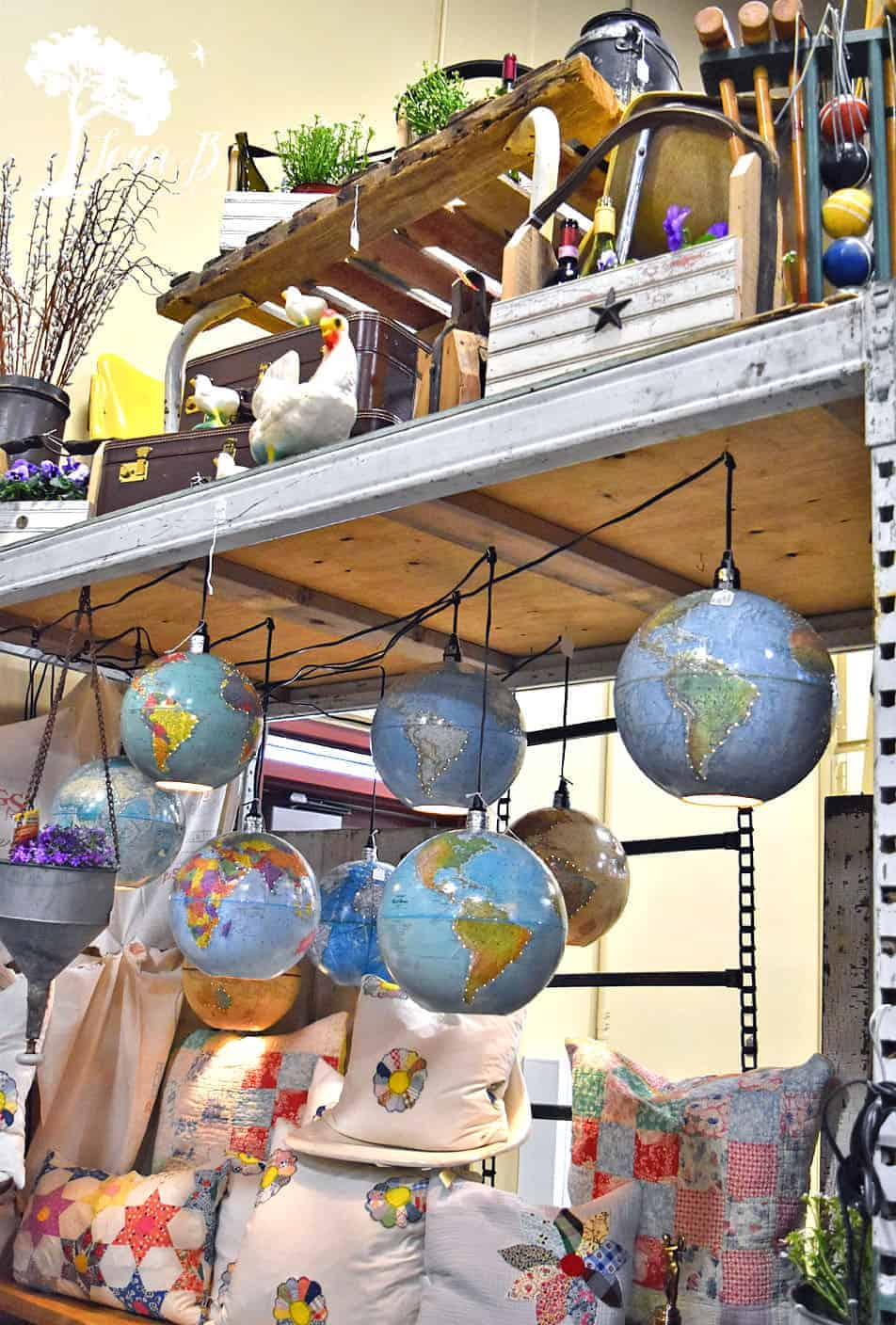 upcycled globes display