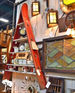 repurposed vintage ski shelf