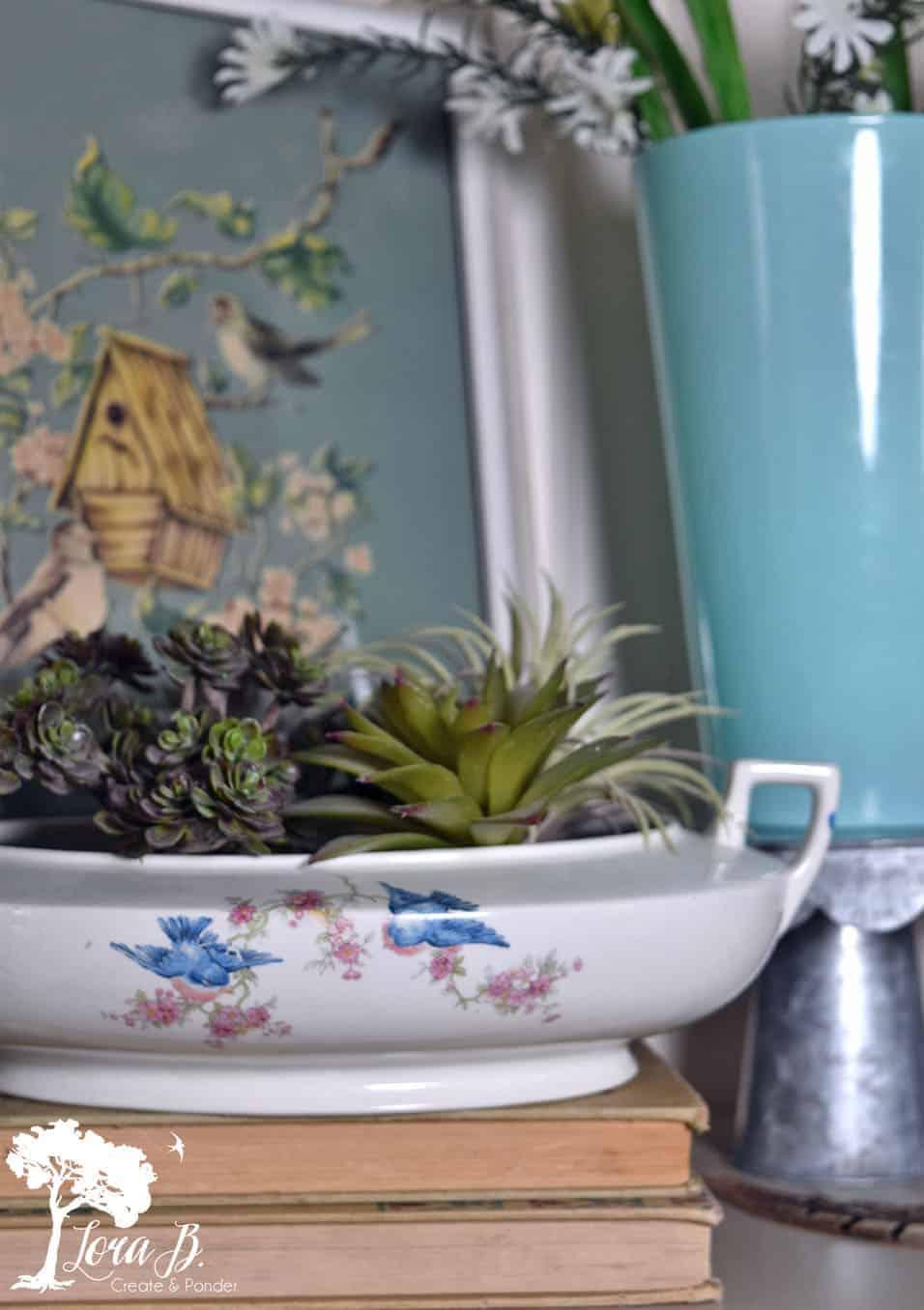 vintage bluebird dish vignette