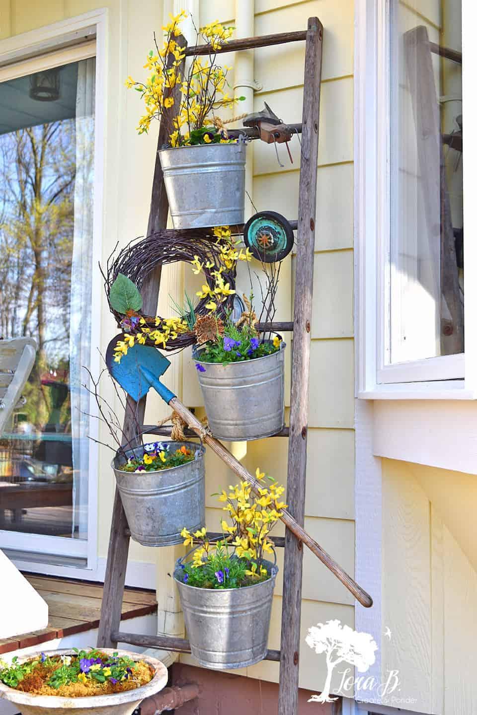Upcycled Old Ladder Garden Display Lora B Create Ponder