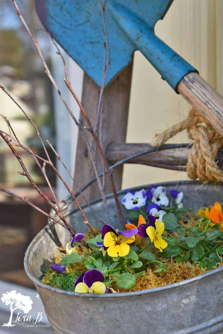 Upcycled Old Ladder Garden Display
