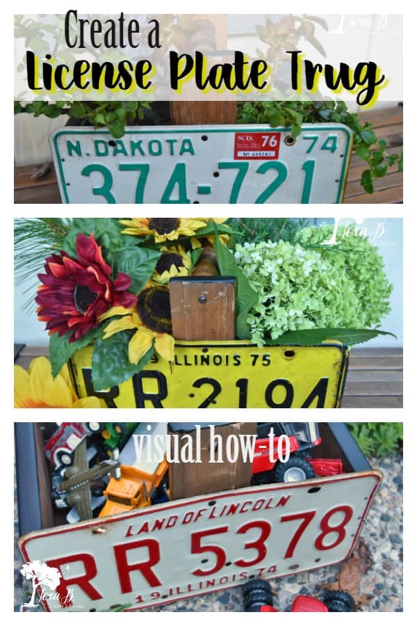 DIY a fun License Plate Trug with this visual how-to. A fun accessory to style throughout the seasons; functional and cute. #DIYprojects #licenseplates #upcycled #repurposed #vintage #homedecorprojects #licenseplateprojects #vintagerepurposed #licenseplateideas