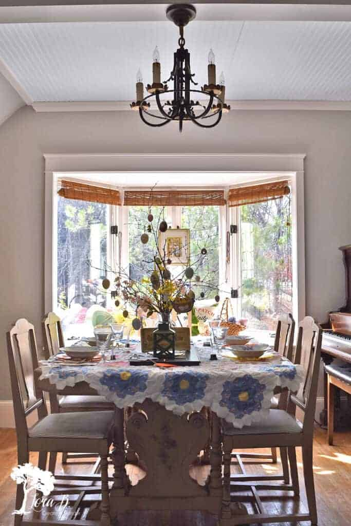 Easter decorated dining room