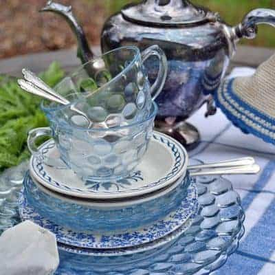 Blue and white tea party