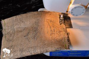 sewing burlap