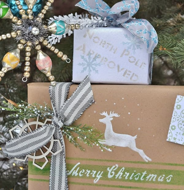 Christmas Gift Wrapping Ideas with Old Sign Stencils