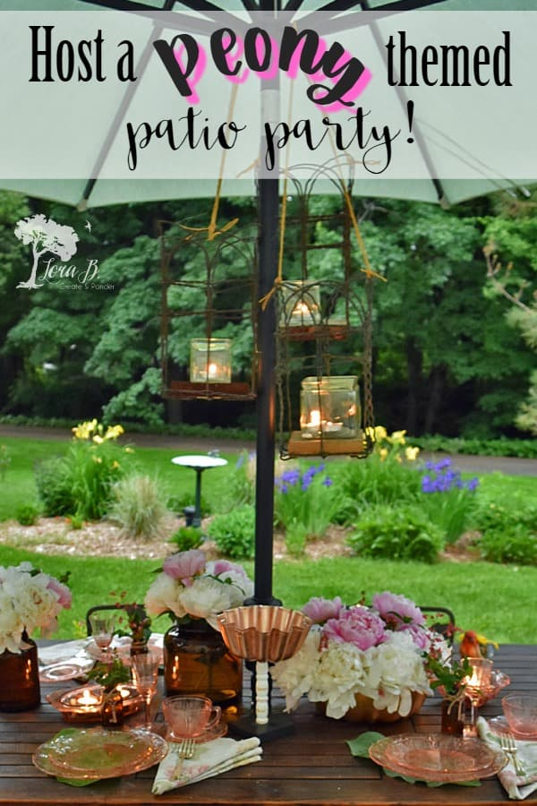 Host a peony themed patio party with pink depression ware, updated with copper accents. A perfect way to end a day of garden tours! #gardening #vintagedishes #depressionglass #gardenparties #peonies #outdoorparties #vintage #entertaining #countrylivingmagazine #countrysamplermagazine #bhg