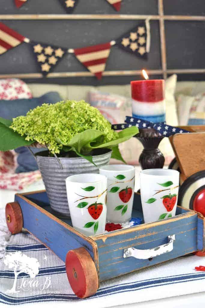 vintage strawberry juice glasses