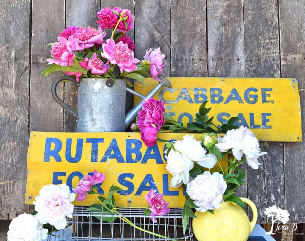 Peonies and vintage garden signs