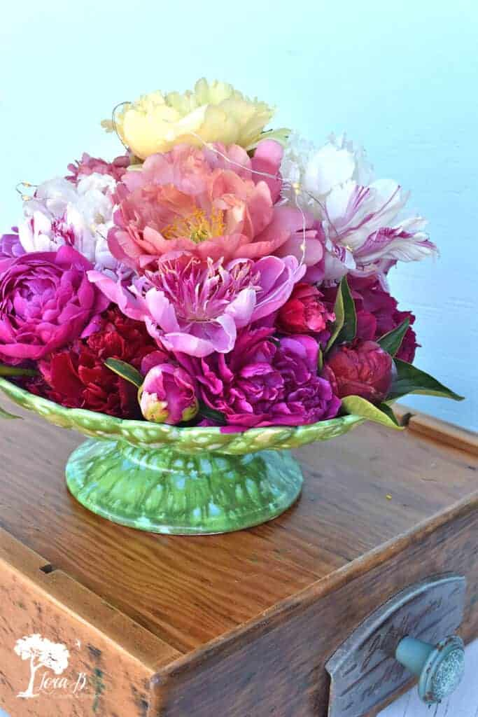 Fresh snipped peonies for Photo Styling Tips using vintage and flowers.