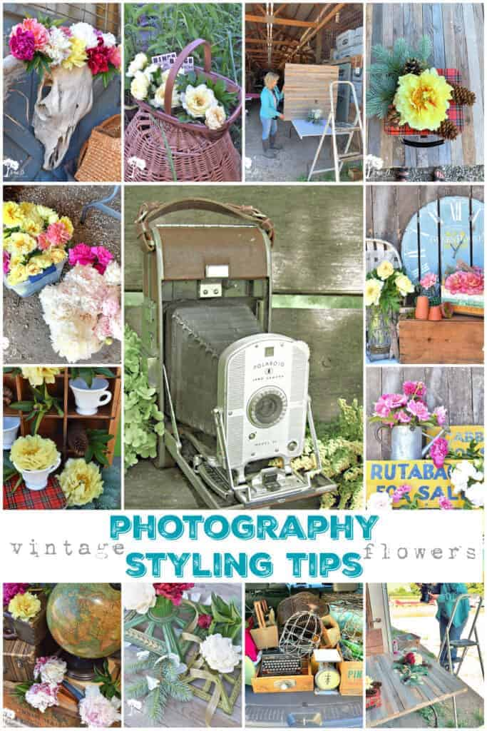 photo styling tips using vintage and flowers