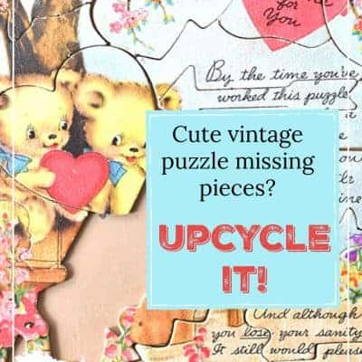 Upcycled Vintage Puzzle Heart