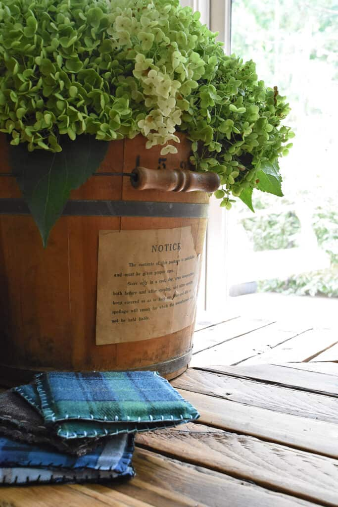 This old wooden bucket is one of my recent vintage finds.