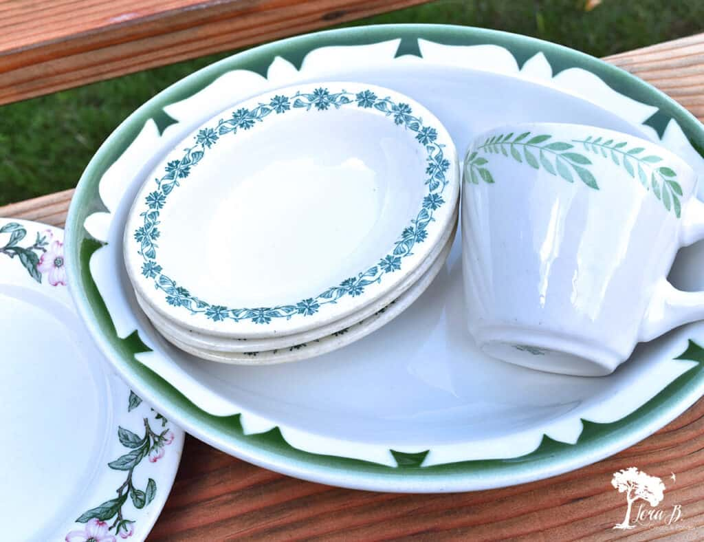 Restaurant ware dishes in different patterns were some of my recent vintage finds.