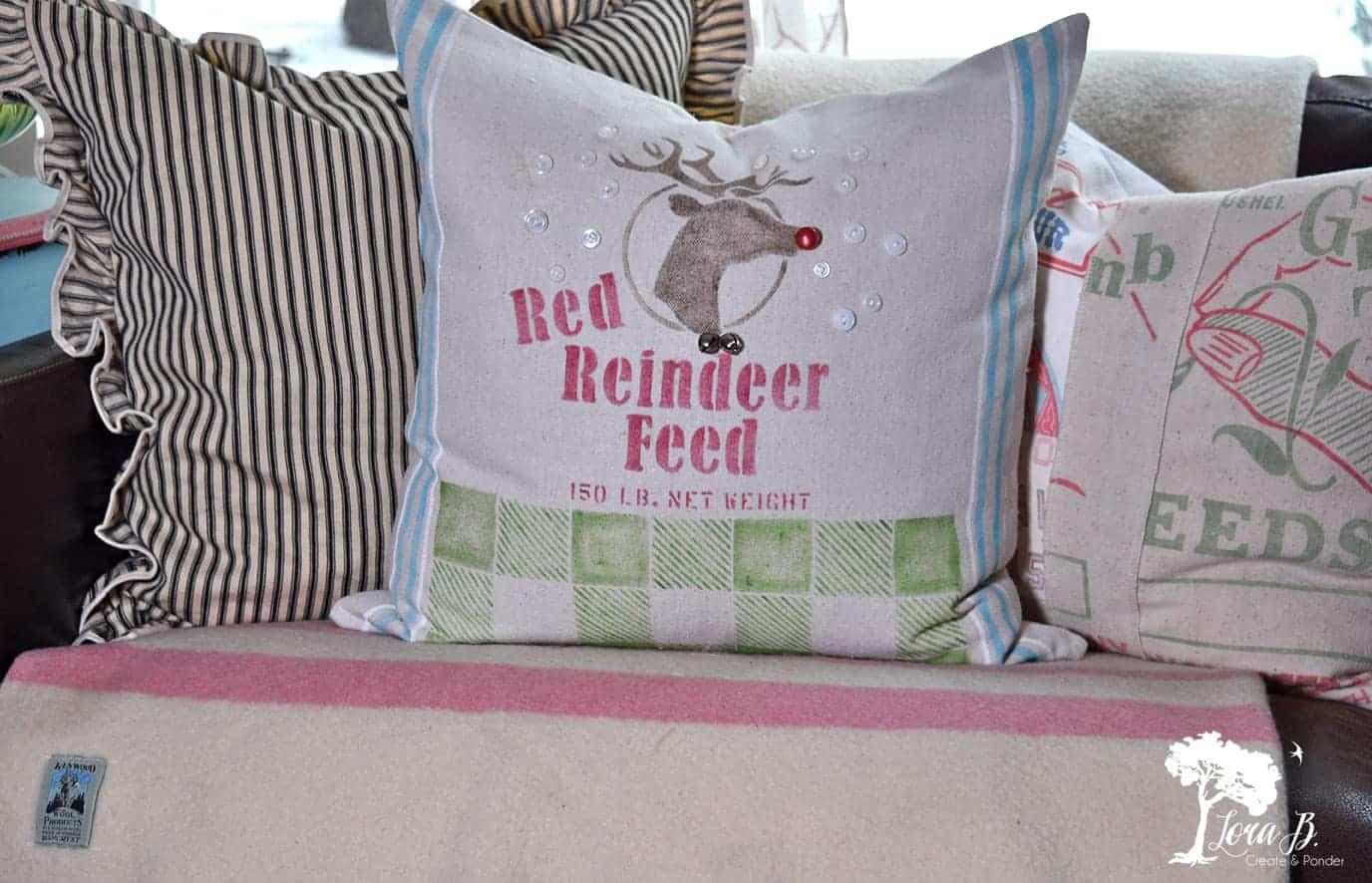 feedsack Rudolph pillow