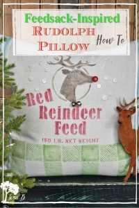 stenciled Rudolph pillow