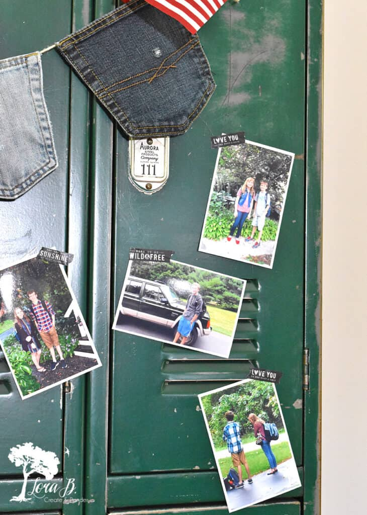 Taped up snapshots for fun vintage school decor ideas.