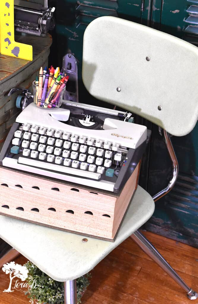 Vintage typewriter displayed for fun vintage school decor ideas.