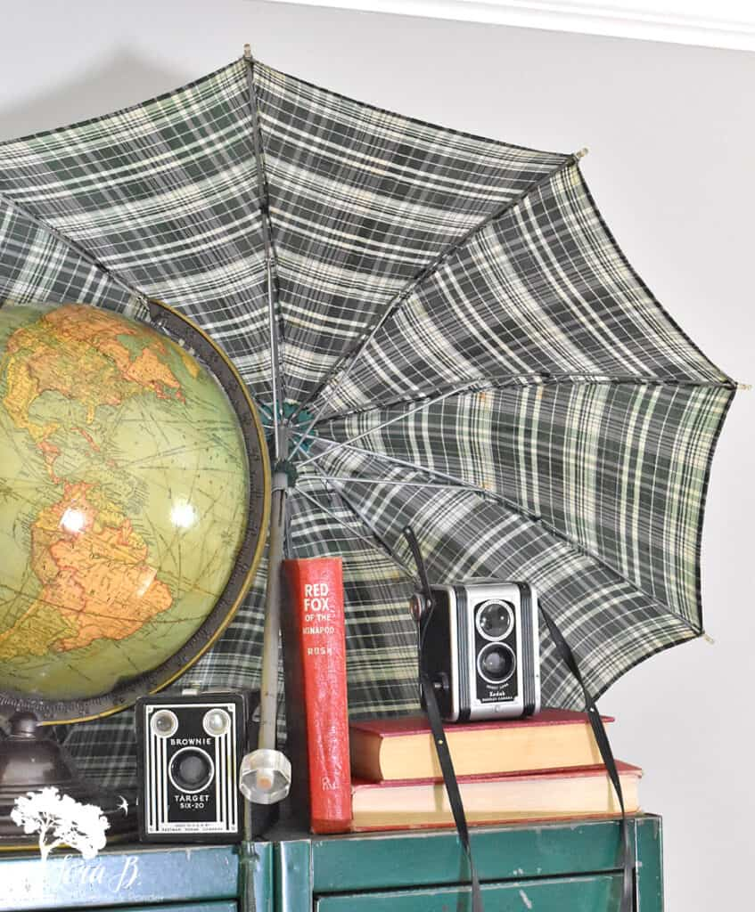 Old globe and cameras for fun vintage school decor ideas.