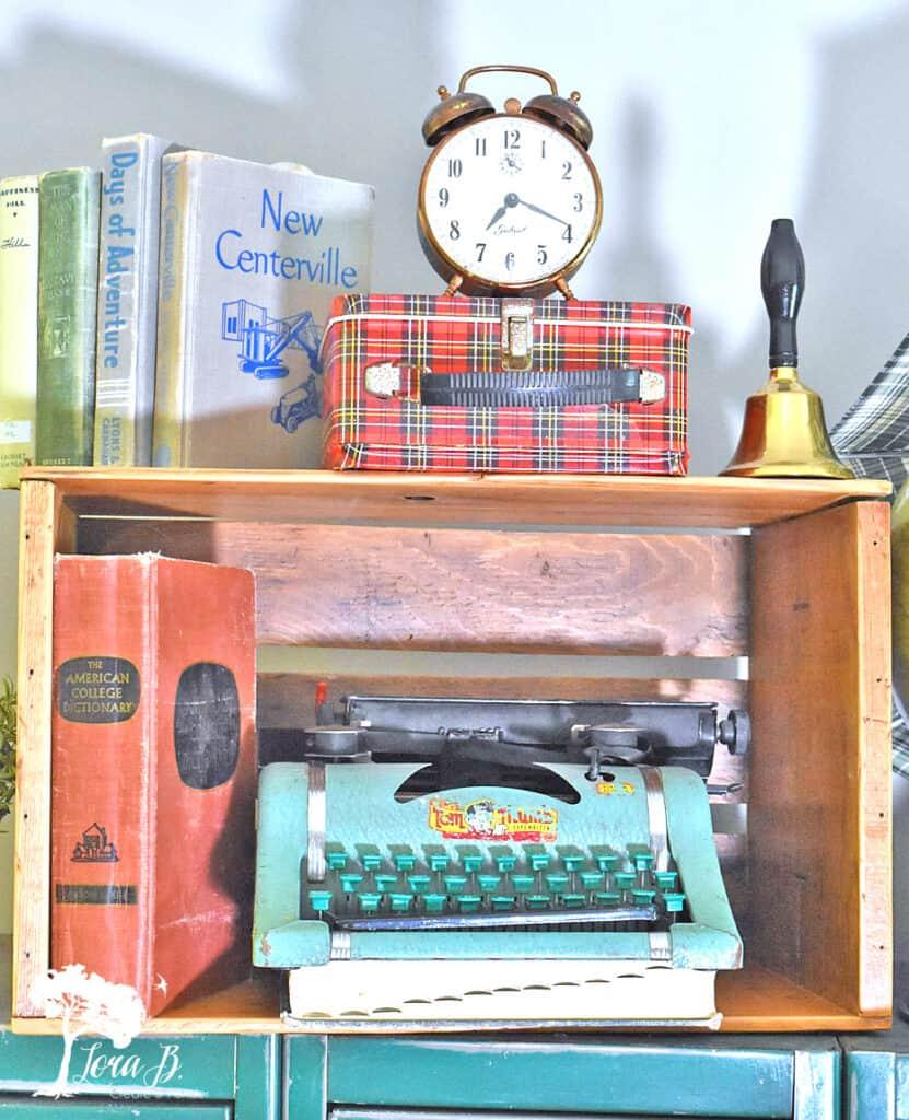 Old Tom Thumb typewriter displayed for fun vintage school decor ideas.