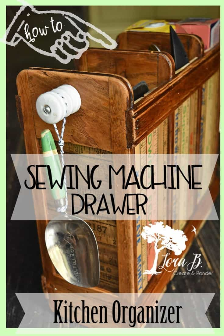 Create a unique kitchen organizer from the skeleton of a vintage sewing machine drawer glide and a few yardsticks.