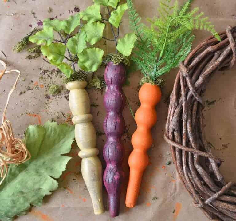 Repurposed Wooden Spindle Carrot Wreath DIY