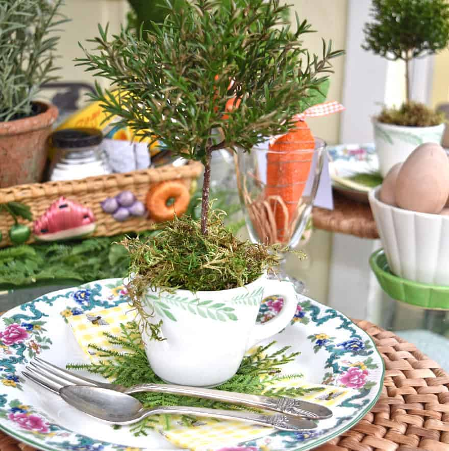 mini topiary table setting