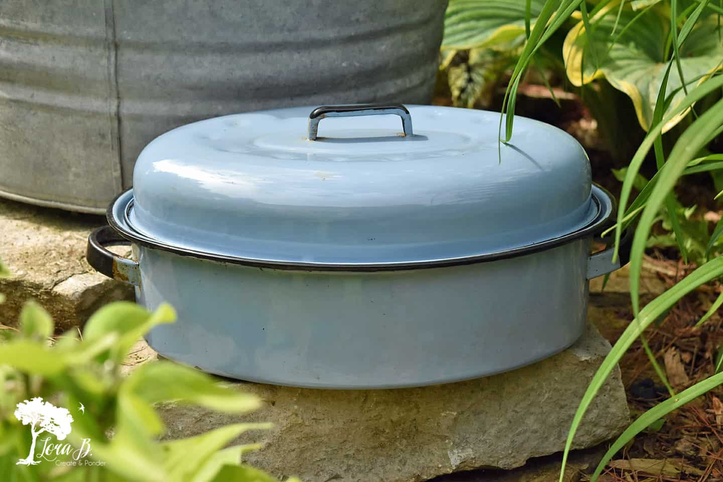 Vintage blue Roaster pan