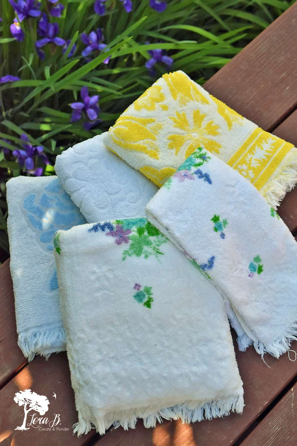 Vintage flowered towels
