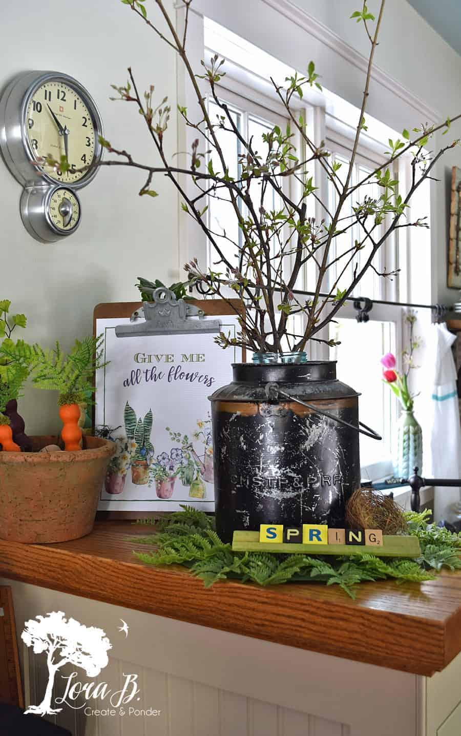 Vintage Farmhouse Spring Decor In The Kitchen Lora B Create Ponder
