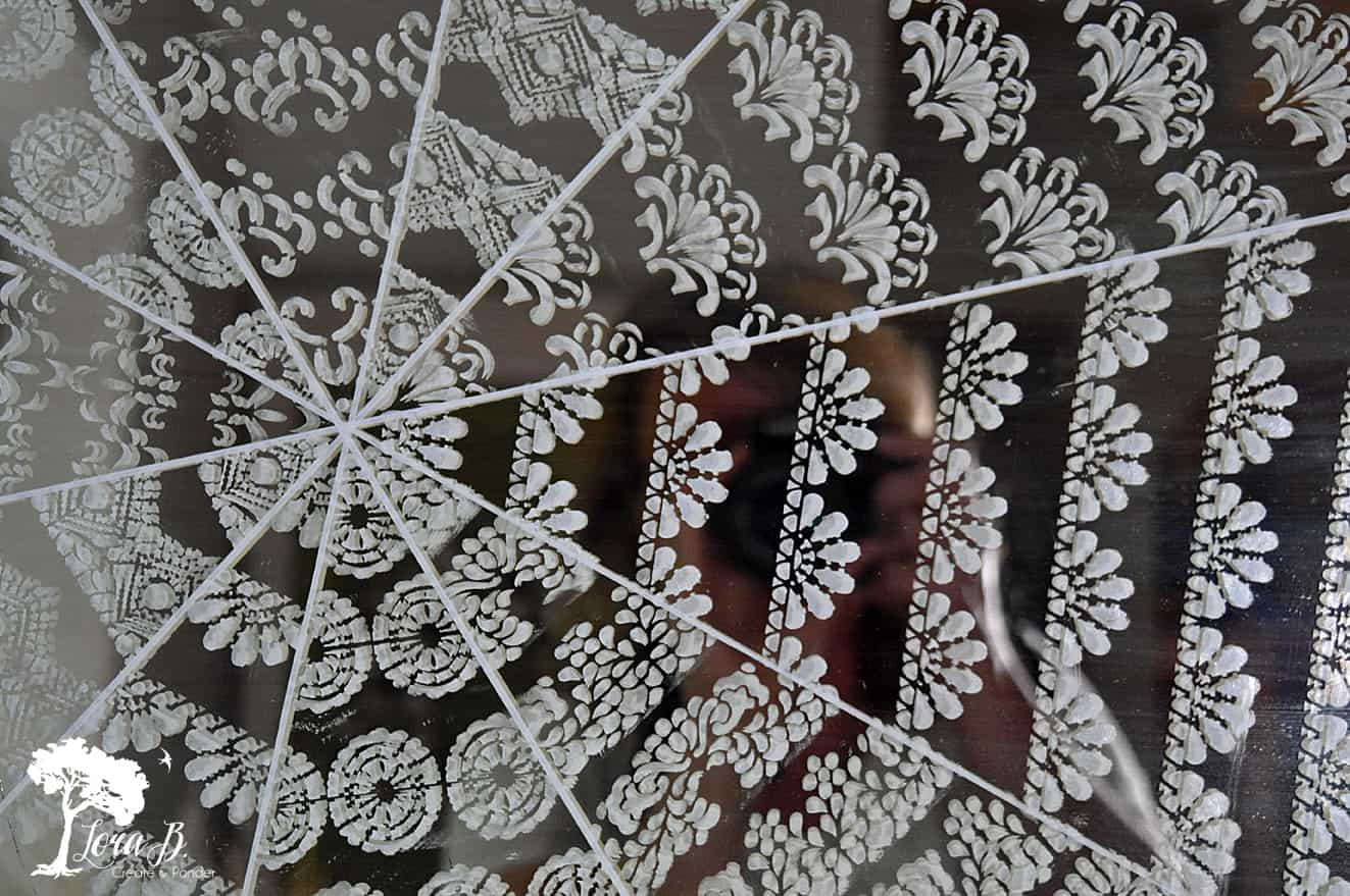 Stenciled Cobweb Mirror DIY