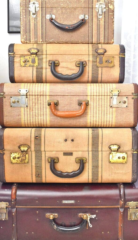 Vintage suitcases stacked