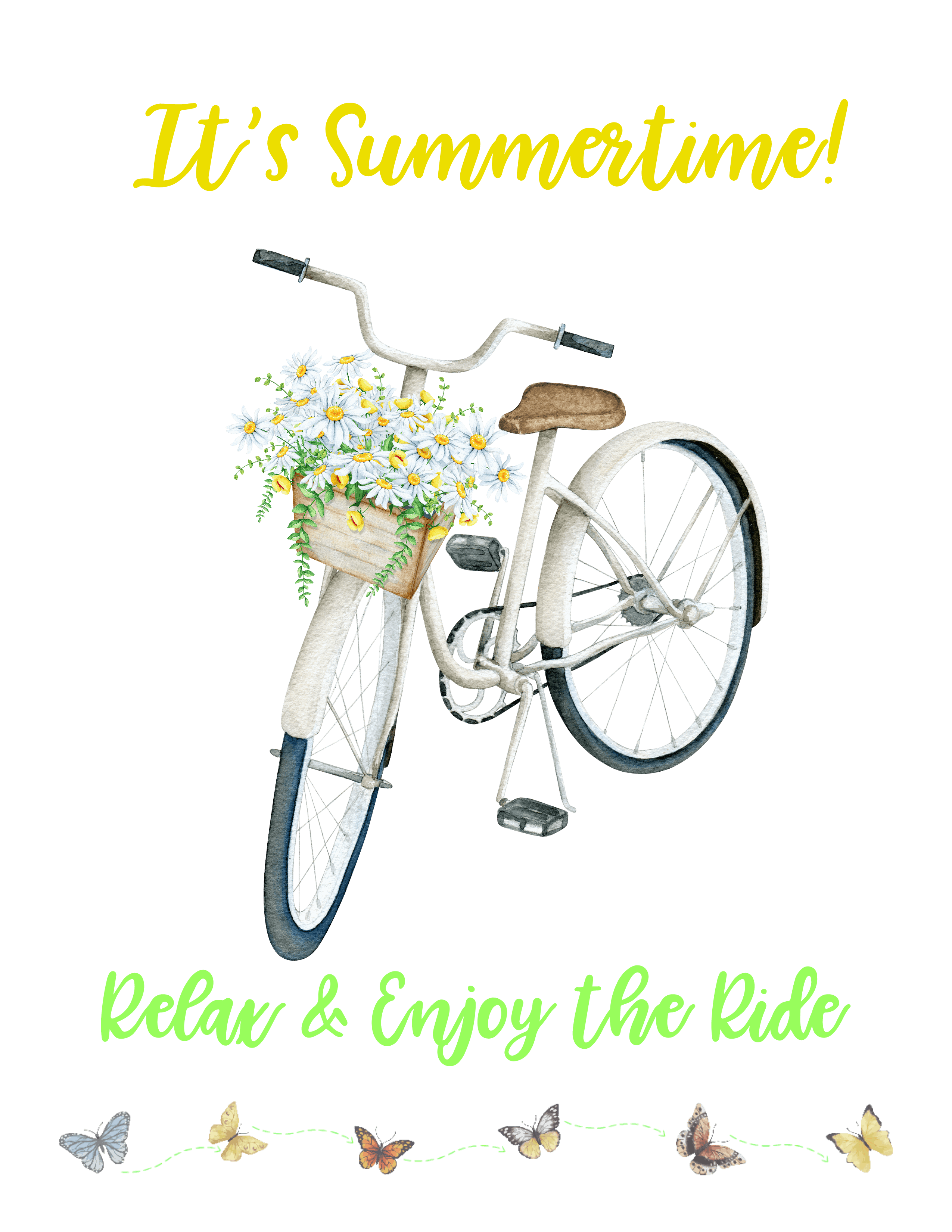 free summer bicycle printable